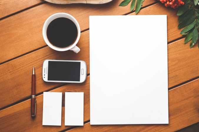 business identity blank stationery set on wood background